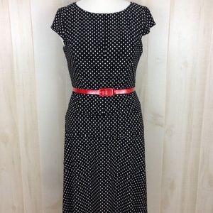 Anne Klein Black White Polka Dot Dress Size 12